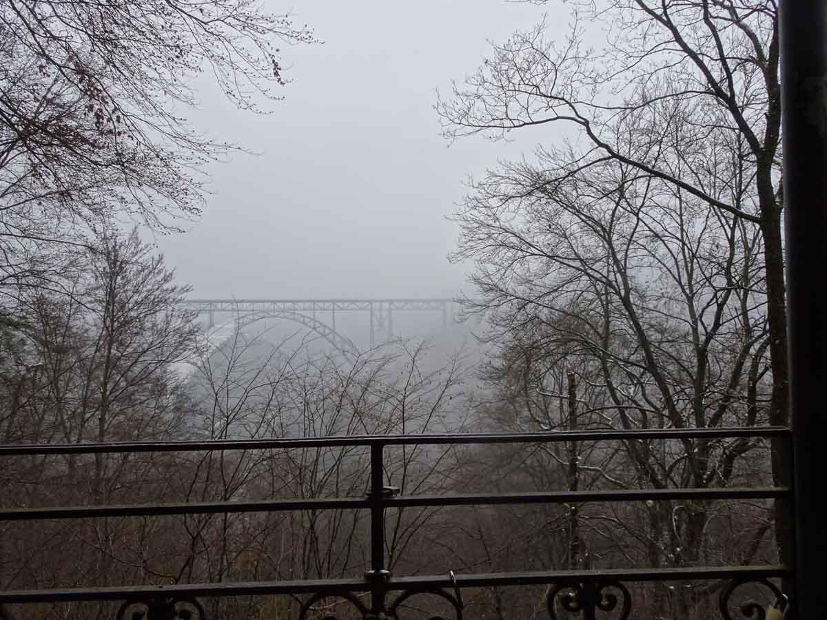 Blick auf die Müngstener Brücke vom Aussichtspavillon