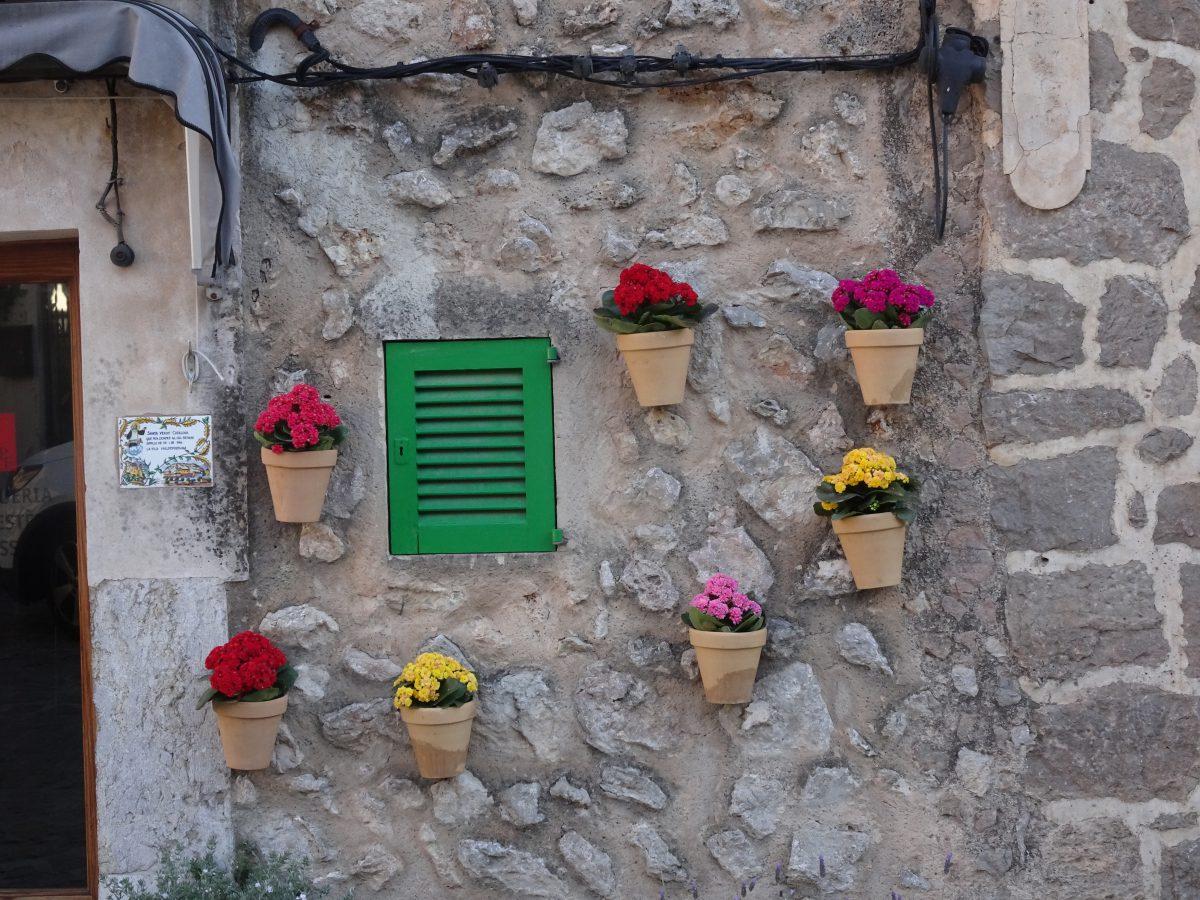 Wandern auf dem Trockenmauerweg Valldemossa Blumentöpfe Valldemossa