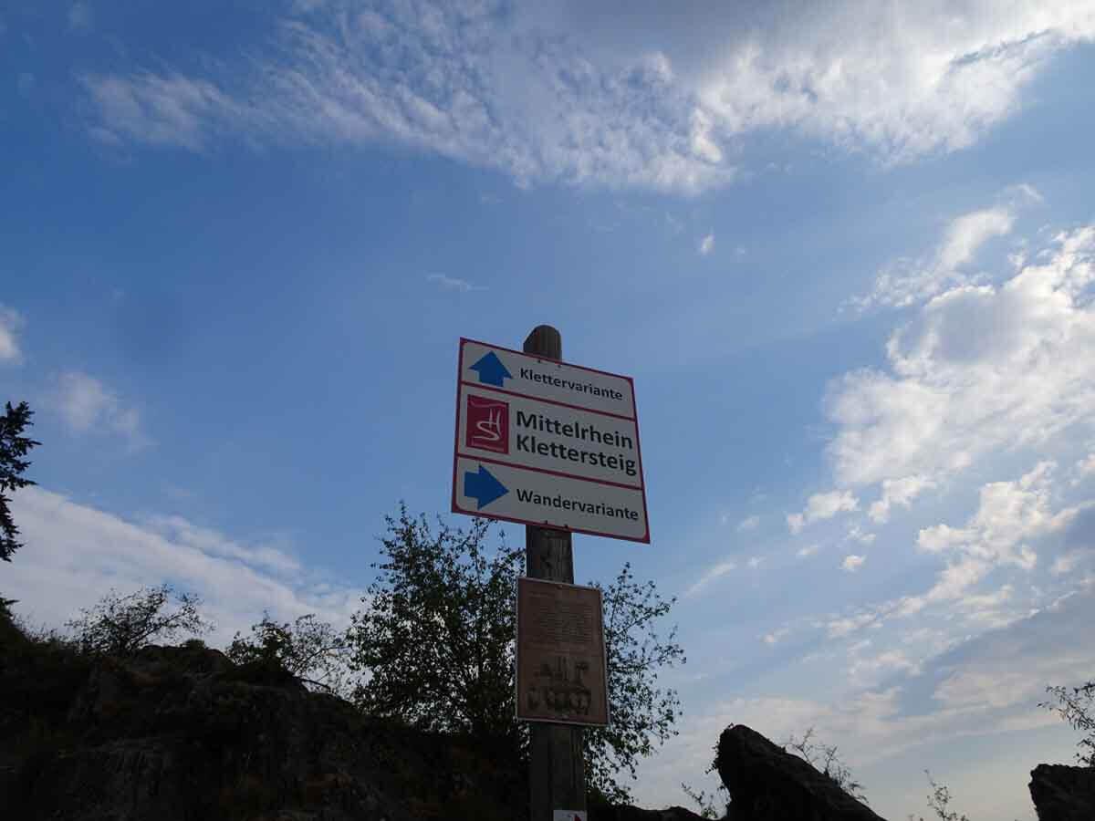 Mittelrhein Klettersteig Hinweisschilder