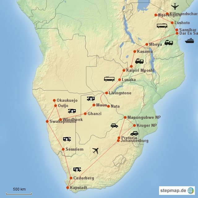 Landkarte Aafrika